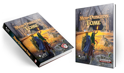 Image of both the 5th Edition and Pathfinder RPG versions of the Mini-Dungeon Tome harcover books